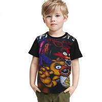 2018 New Cartoon T Shirt Kids   At Freddy Boys Clothes Girl T-shirt Summer Kids Tops Short Sleeve Tees