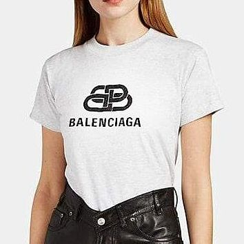 BALENCIAGA Hot Sale Women Men Leisure Letter Print Short Sleeve T-Shirt Top