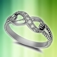 Sterling Silver Infinity Rope Ring with Clear Cubic Zirconia Stones - size 8