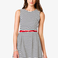 FOREVER 21 Striped Fit & Flare Dress w/ Belt Cream/Navy Large