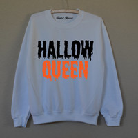 Hallow Queen Halloween white sweatshirt for women T-shirts
