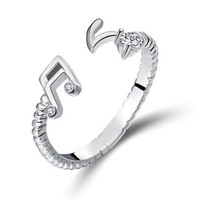 ZLYC Women's Delicate Sterling Silver Open Resizable Ring (Musical Note)