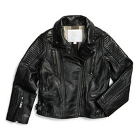 Girl's Burberry 'Mossfield' Leather Motorcycle Jacket,