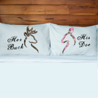Her Buck His Doe Pillow Cases (Set)