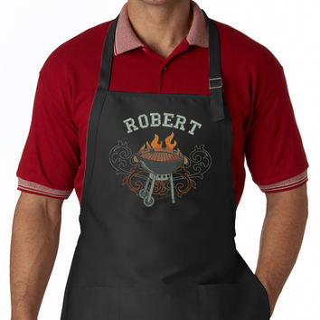 Personalized Wild Side BBQ EMBROIDERED Men's Apron