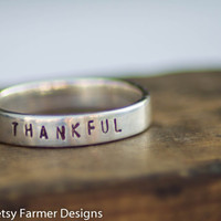 Personalized Hand Stamped Ring - Sterling Silver - Size 6, 7, & 8 Available