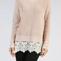 Fall into Place Lace Trimmed Oversized Sweater - Khaki