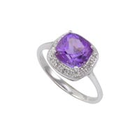 Sterling Silver .01ct Genuine Diamond Ring with Square Amethyst Center Stone