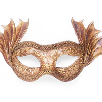 Antique Bronze / Gold Masquerade Mask With Dragon Wings - Metallic Venetian Mask Embellished With Handcrafted Swirls