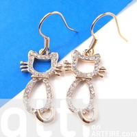 Kitty Cat Outline Animal Dangle Earrings in Gold with Rhinestones
