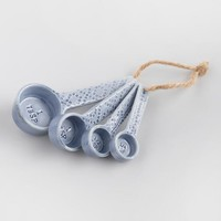 Blue Shibori Print Ceramic Measuring Spoon Set