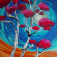 abstract felt wall art,contemporary wet felted art, abstract tree, fantasy tree, pretty in pink