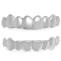 .925 Solid Sterling Silver Removable Top & Bottom Teeth Grillz Set