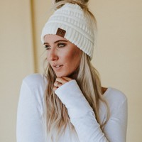 Messy Bun Knitted Beanie Hat - Ivory
