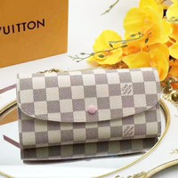 LV High quality Multicolor Buckle and zipper Women Leather Purse Wallet White I-LLBPFSH