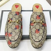 GUCCI New fashion more letter ladybug print shoes flip flop slippers