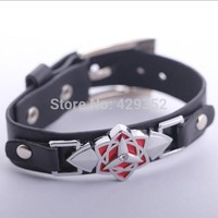 Naruto Sasauke ninja Anime Cosplay Leather Bracelet  Symbol High Quality Alloy Bracelet For Men 10pcs/lot AT_81_8