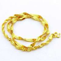 24K GP Gold Plated Necklace Mens Women Yellow Gold Golden Jewelry Necklace YHDN 84 MP