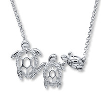 Turtle Family Necklace Diamond Accents Sterling Silver