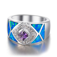 Tibetan and Indian Style Triple Layers of Shinning Gemstones Silver Sterling 925 Ring.
