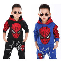 Marvel Comic Classic Spider-man Child Costume Sports suit 2 pieces set Tracksuits boys Clothing sets Coat+Pant for 2-7 years old