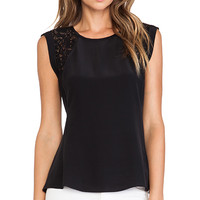Rebecca Taylor Lace Inset Top in Black