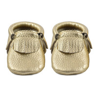 first steps Gold Metallic Leather Moccasin   zulily