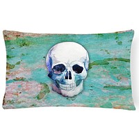 Day of the Dead Teal Skull Canvas Fabric Decorative Pillow BB5123PW1216