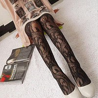 Fashion Womens Lady Girls Black Sexy Fishnet Pattern Jacquard Stockings Pantyhose Tights Styles Woman 1pcs dww05