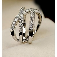 White Gold Plated Cubic Zirconia Ring