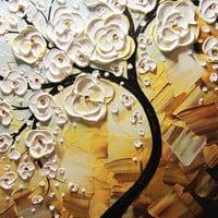 BALANCE DUE for ROMINA Art Abstract Painting White Cherry Tree Blossoms Flowers Textured Palette Knife Wall Decor Blue Gold 24x36 -Christine