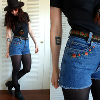 High Waisted Embroidered Roses Floral Denim Cut Off Jean Shorts 28 Bill Blass