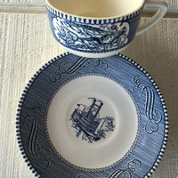 Vintage Blue and white Currier and Ives teacup and saucer, Blue transfer ware dishes, Mid century china cup and saucer, mismatched tea cups