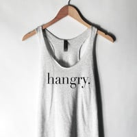 Hangry Tank Top in Heather White