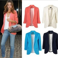 Women Candy Color Slim Buttonless Three Quarter Sleeve Coat Suit jacket blazer 7 colors = 1958572932