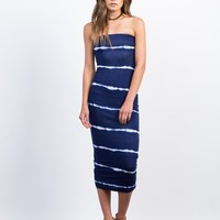 Tie-Dye Strapless Midi Dress