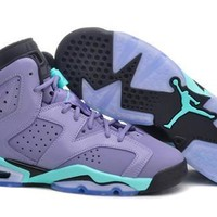 Hot Nike Air Jordan 6 Retro Women Shoes Purple Green