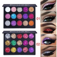 15 Colors Shimmer Glitter Matte Eyeshadow Pallete Cosmetics Loose Powder Nude Eye Shadow Palette Makeup Pigments