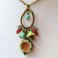 Teal Czech Glass Flower & Teal and Red Dangly Cluster Bronze Necklace