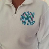 Lilly Pulitzer Monogram Quarter Zip -Sweatshirt -Jacket - personalized - Pullover - Customized