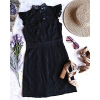 Cherry on Top Lace Mock Neck Dress in Black