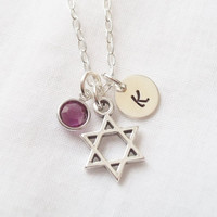 Personalized Star of David Necklace ~ Sterling Silver, Personalized, Hand Stamped, Jewish Faith, Jewish Necklace, Birthstone ~ MADE TO ORDER