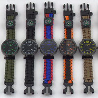 Multifuctional 5 in 1 Outdoor Survival Paracord Watch With Fire Starter Compass Whistle Rescue Bracelet For Hiking Travel Kit