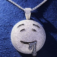 Men's Hip Hop Drooling Face Emoji Custom Pendant