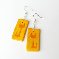 Large yellow earrings with cat silhouette - handmade.