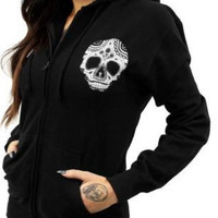Long Sleeve Skull Pattern Black Hoodie For Women FREE SHIPPING !!!