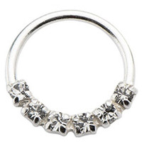 925 Silver Septum Nose Ring 18g 5/16 clear Cubic Zirconia-Free Gift BOX-w 103