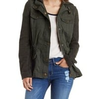 Olive French Terry Anorak Jacket by Charlotte Russe
