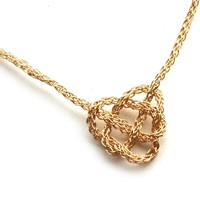 Celtic heart knot necklace , wire crochet in gold