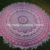 Round Tassle Fringe Beach Throw Ombre Mandala Roundie Yoga Mat Cover Mandala Printed Cotton Table Cover Kitchen Table Cloth Wall Hanging